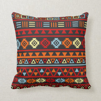 Aztec Style (Large) Ptn - Orange Yellow Red & Blk Throw Pillow