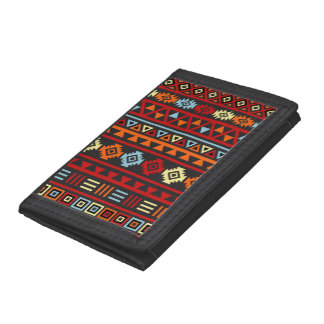 Aztec Style (Large) Ptn - Orange Yellow Red & Blk Trifold Wallets