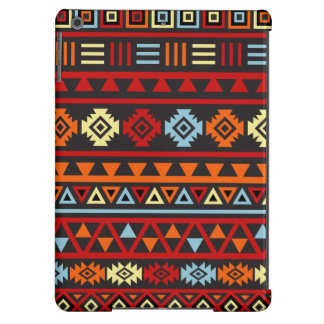 Aztec Style Lg Ptn - Orange Yellow Blue Red & Blk iPad Air Cases