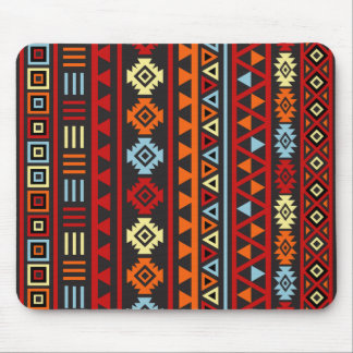 Aztec Style Lg (v) Ptn - Orange Yellow Red & Blk Mouse Pad