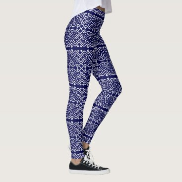 Aztec Themed Aztec Style Navy Blue & White Geometric Pattern Leggings
