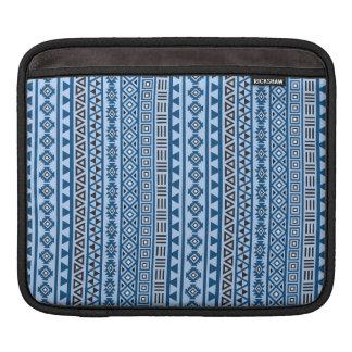 Aztec Style Pattern Blues Black & White iPad Sleeve