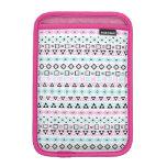 Aztec Style Pattern II (b) Black Blue Pink White iPad Mini Sleeves