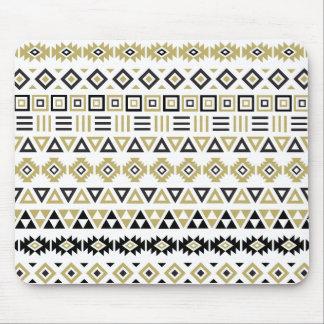Aztec Style Pattern II (b) - Black White & Gold Mouse Pad