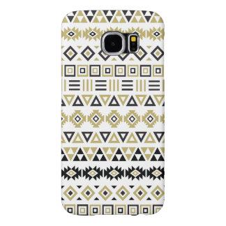 Aztec Style Pattern II (b) - Black White & Gold Samsung Galaxy S6 Cases