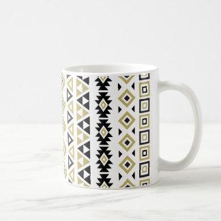 Aztec Style Pattern II(b) - Black White & Gold (v) Coffee Mug