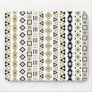 Aztec Style Pattern II(b) - Black White & Gold (v) Mouse Pad