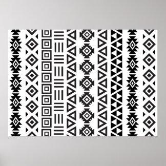 Aztec Style Pattern II (b) – Monochrome Poster