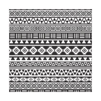 Aztec Style Pattern - Monochrome Canvas Print