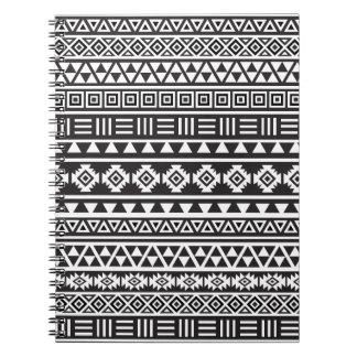 Aztec Style Pattern - Monochrome Spiral Notebook