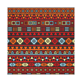 Aztec Style Pattern - Orange Yellow Blue Red & Blk Canvas Print