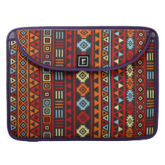 Aztec Style Pattern - Orange Yellow Blue Red & Blk Macbook Pro Sleeve at Zazzle