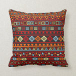 Aztec Style Pattern - Orange Yellow Blue Red & Blk Throw Pillow