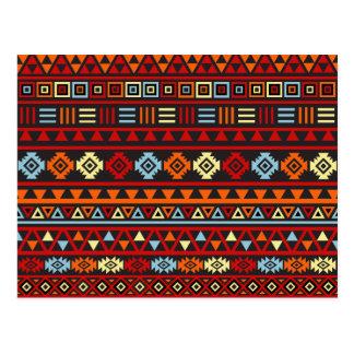 Aztec Style Pattern - Orange Yellow Blue Red & Blk Postcard