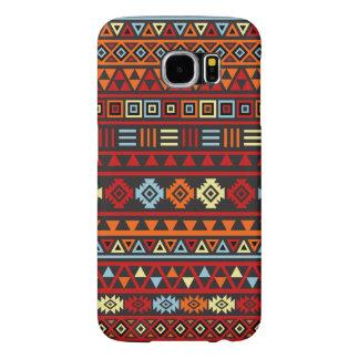 Aztec Style Pattern - Orange Yellow Blue Red & Blk Samsung Galaxy S6 Case