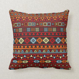 Aztec Style Pattern - Orange Yellow Blue Red & Blk Throw Pillow