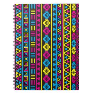 Aztec Style Ptn (v) - CMY & Black Note Book