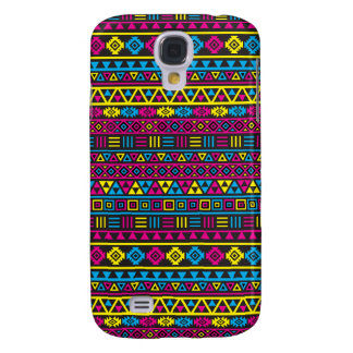 Aztec Style Repeat Pattern - CMY & Black Samsung Galaxy S4 Cover