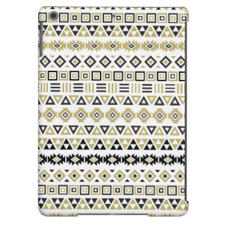 Aztec Style Repeat Pattern II (b) - BW & Gold Cover For iPad Air