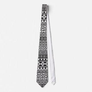 Aztec Style Repeat Pattern - Monochrome Tie