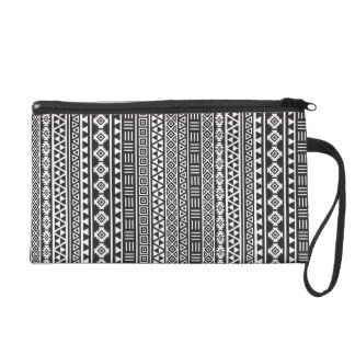 Aztec Style Repeat Pattern - Monochrome Wristlet Purse