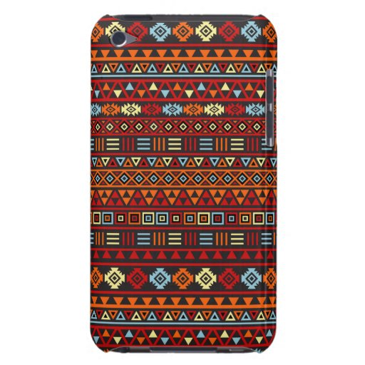 Aztec Style Repeat Ptn - Orange Yellow Red & Black iPod Case-Mate Cases