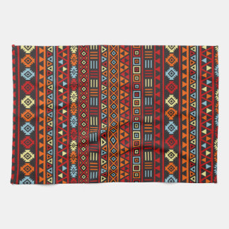 Aztec Style Repeat Ptn - Orange Yellow Red & Black Hand Towel