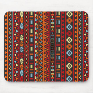 Aztec Style Repeat Ptn - Orange Yellow Red & Black Mouse Pad