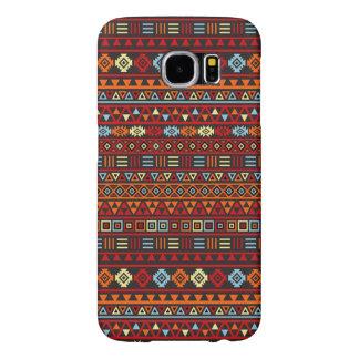 Aztec Style Repeat Ptn - Orange Yellow Red & Black Samsung Galaxy S6 Case