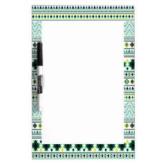 Aztec Style Tribal Pattern White Blue Green Dry-Erase Board