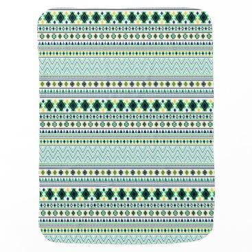 Aztec Themed Aztec Style Tribal Pattern White Blue Green Stroller Blanket