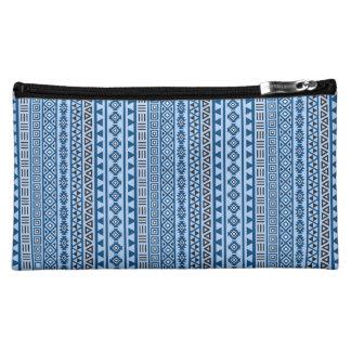 Aztec Style Vertical Rpt Ptn Blues Black & White Cosmetic Bag