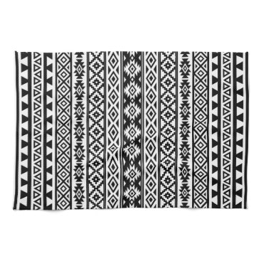 Aztec Themed Aztec Stylized Pattern Black & White Hand Towel