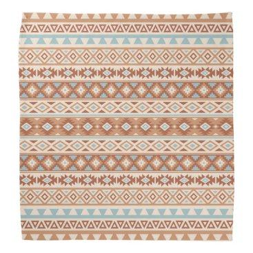 Aztec Themed Aztec Stylized Pattern Blue Cream Terracottas Bandana