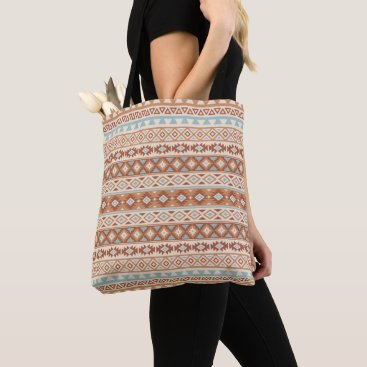 Aztec Themed Aztec Stylized Pattern Blue Cream Terracottas Tote Bag