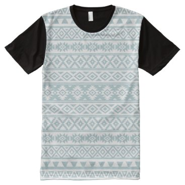 Aztec Themed Aztec Stylized Pattern Duck Egg Blue & White All-Over-Print Shirt