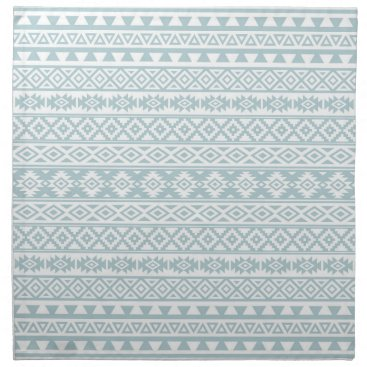 Aztec Themed Aztec Stylized Pattern Duck Egg Blue & White Cloth Napkin