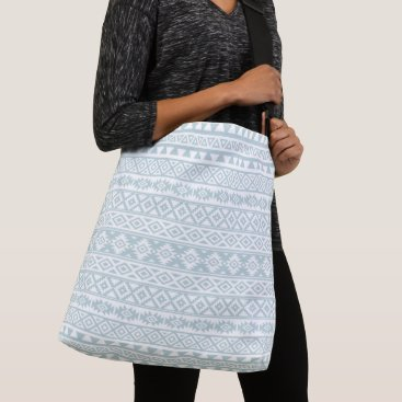 Aztec Themed Aztec Stylized Pattern Duck Egg Blue & White Crossbody Bag