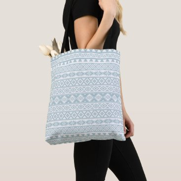 Aztec Themed Aztec Stylized Pattern Duck Egg Blue & White Tote Bag