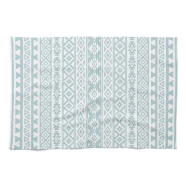 Aztec Themed Aztec Stylized Pattern Duck Egg Blue & White Towel
