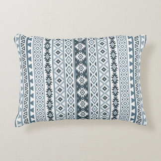 Aztec Stylized Pattern Gray-Blues & White Accent Pillow