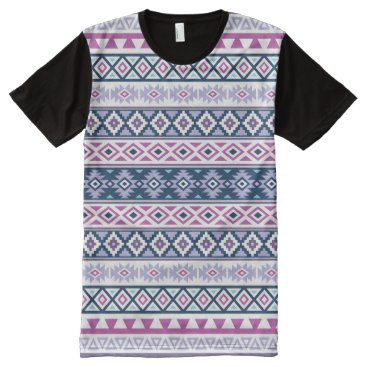 Aztec Themed Aztec Stylized Pattern Pinks Purples Blues White All-Over-Print T-Shirt