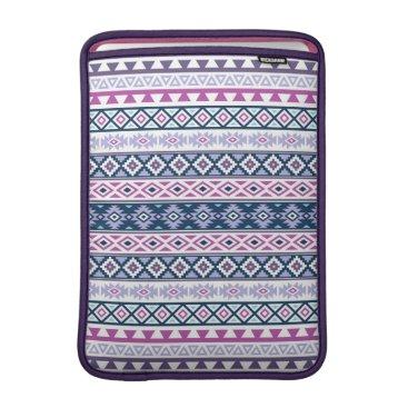 Aztec Themed Aztec Stylized Pattern Pinks Purples Blues White MacBook Sleeve