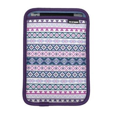 Aztec Themed Aztec Stylized Pattern Pinks Purples Blues White Sleeve For iPad Mini
