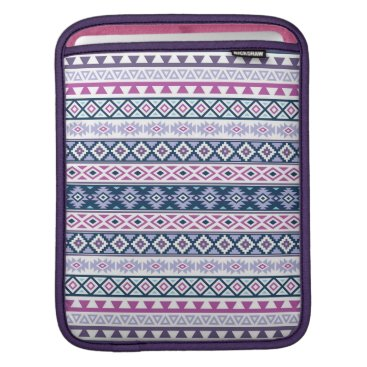 Aztec Themed Aztec Stylized Pattern Pinks Purples Blues White Sleeve For iPads
