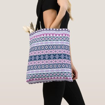 Aztec Themed Aztec Stylized Pattern Pinks Purples Blues White Tote Bag