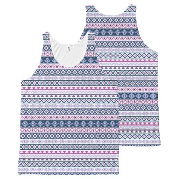 Aztec Themed Aztec Stylized Pattern Pinks Purples Blues Wt All-Over-Print Tank Top