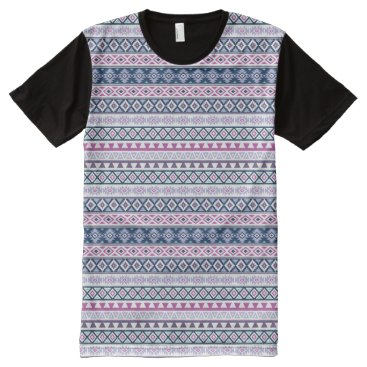 Aztec Themed Aztec Stylized Rpt Pattern Pinks Purples Blues Wt All-Over-Print T-Shirt