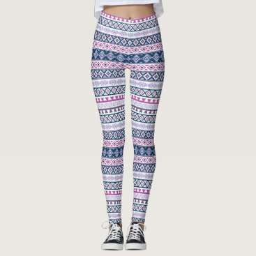 Aztec Themed Aztec Stylized Rpt Pattern Pinks Purples Blues Wt Leggings