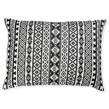 Aztec Themed Aztec Stylized (V) Pattern Black & White Pet Bed